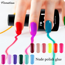 Verntion Uv Lacquers Gel Nude Color Acrylic Nail Polish Soak Off UV Nail Gel Polish Lucky Color Lacquer French Style Nail Glue(China)