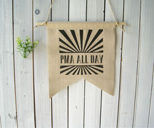 Wall Decor Art Wall Hanging Linen Flag PMA All Day Rustic Banner Pennant Natural  Chevron Home Decor