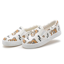 Girls slip on shoes spring Autumn Cartoon Bear print  Sneakers children kids shoes soft and comfortable Flat school shoes CS280