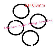 Hoop Nose Ring Earring Jewelry Black Titanium Anodized Seamless Endless Ear Tragus Cartilage Hoop Ring for women 0.8mm(China)