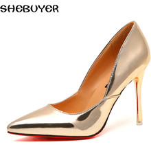 2017 spring High Heels Shoes Woman Elegant Thin High Heels Pointed Toe Patent Women's Pumps for Party Gold Silver Color 50530