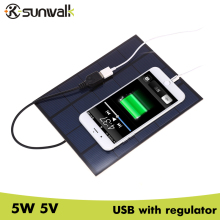 SUNWALK 5W 5V Solar Cell Panel Charger USB Output 830mA Portable Solar Charger Mobile Phone Solar Charger 5V USB 210*165mm