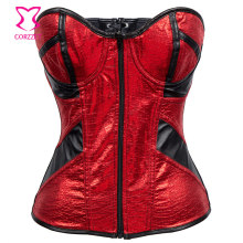 Black/Red PVC Leather Zipper Corsets And Bustiers Sexy Corset For Women Steampunk Clothing Gothic Corselete Feminino Espartilhos
