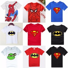 Hooyi Baby Boys T-Shirts Summer Short Sleeve Superman Children Tees Shirts 100% Cotton Soft Kids Batman Tops Spiderman T Shirt