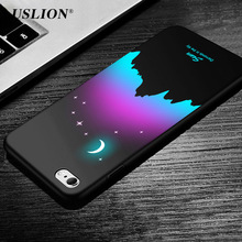 USLION Moonlight Stars Phone Case For iPhone 6 6s Plus Wolf Animal Pattern Cases Hard PC Full Back Cover For iPhone 6S Coque