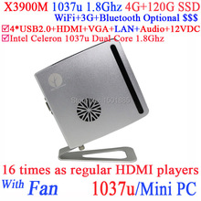 New Small PC Computer Cloud Terminal mini pc X3900M with Intel Celeron 1037u Dual Core 1.8Ghz for Bank Hospital ADs KTV