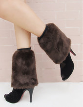New Winter Women's  Faux Fur Leg Warmers Boots Cuffs Toppers Leg Warmers Gaiters Socks