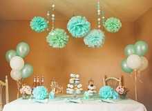 Mint POM POM 5pcs 20cm Tissue Paper Pom Poms Flower Balls Party Wedding Home Birthday Tea Party Decorations(China)