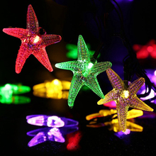 New 20ft 30 LED Starfish Solar Powered Fairy Christmas Light String Most Pop Globe Solar Lamp for Outdoor Lighting Decoration(China)