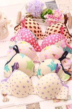 High quality teenage training bra +briefs Lovely print cotton bra set fresh girl underwear lingerie sets bra + panties(China)