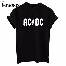 AC/DC Band Rock T-Shirt Women's ACDC BLACK Letter Printed Graphic Tshirts Hip Hop Rap Music Short Sleeve Tops Tee Shirt(China)