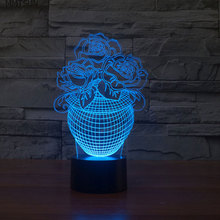 Novelty 3D night Light Rose Floral Table Lamps 7 Color Changing Led Lighting(China)