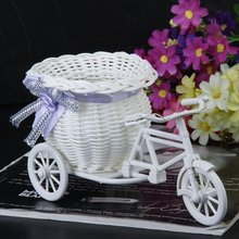 2017 Hot Sale New Plastic White Tricycle Bike Design Flower Basket Container For Flower Plant Home Weddding Decoration