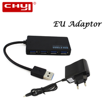 New and Cool 4-Port Mini USB Hub 3.0 with EU Power Adaptor for Laptop PC Macbook Supply Directly From Factory