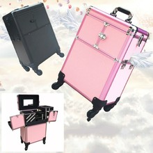 Professioal Nail Polish Manicure Makeup Trolley Case Box Organizers Storage 58x35x23cm