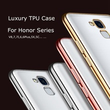 Luxury Gold Plating Crystal Soft TPU Case for Huawei Honor 6C 5C/7 lite 5 5X/GR5 6 Plus 4A/Y6 4C 4X Enjoy 7 Plus 6 Back Cover