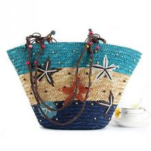 Handmade straw bag Hawaii summer beach bag starfish print shoulder bag fashion women beach holiday handbag(China)