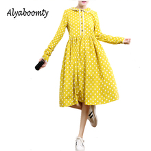 2017 Fashion Cute Spring Autumn Women Dress Peter Pan Collar Dot Printed Femme Vestidos Long Sleeve Yellow Navy Blue Lady Dress