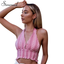 Buy Simenual Print floral summer deep v neck top cropped backless sexy hot pink halter women's vest tops tie bow slim elasic camis