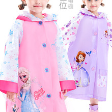 Girls Raincoat Poncho Frozen Pink Disney Outdoor Kids Elsa Walk Boys School-Bag Gifts
