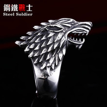 steel soldier Stainless Steel Game of Thrones style ice wolf House Stark of Winterfell Biker ring Fashion unique Jewelry(China)