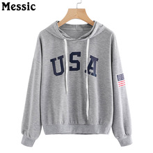 Messic Casual Loose USA Letters Print Hoodies Sweatshirt Women 2017 Autumn Winter Hooded Sweat Femme Drawstring Hoody Ladies(China)