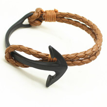 20cm PU Leather Men Bracelet Jewelry Man Anchor Bracelet Wristband Charm Braclet For Male Accessories Hand Cuff