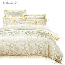 KELUO Luxury Satin Wedding jacquard mulberry silk bedding 100%cotton Embroideredincluding duvet cover bed sheet pillowcase Cream