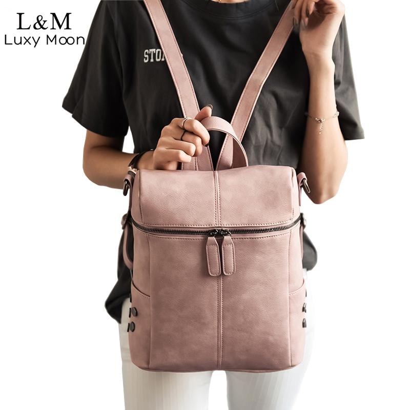 Simple Style Backpack Women Leather Backpacks For Teenage Girls School Bags Fashion Vintage Solid Black Shoulder