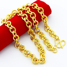 24k Gold Filled 7mm Chain Necklace for men 50cm,fashion pure gold color men's Link Chain necklace for pendant(China)