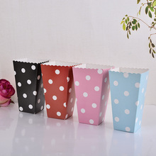 10pcs/lot Black and Pink Polka Dots Paper Popcorn Boxes Candy Favor Bags Wedding Birthday Movie Night Party Supplies