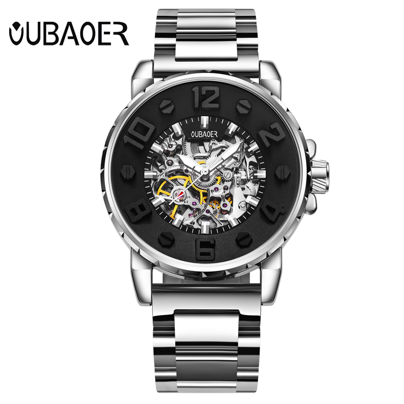 3D Designer Automatic Mechanical Watch Men OUBAOER Top Brand Luxury Leather Luminous Busin Watches Relogio Masculino Men Watches<br>