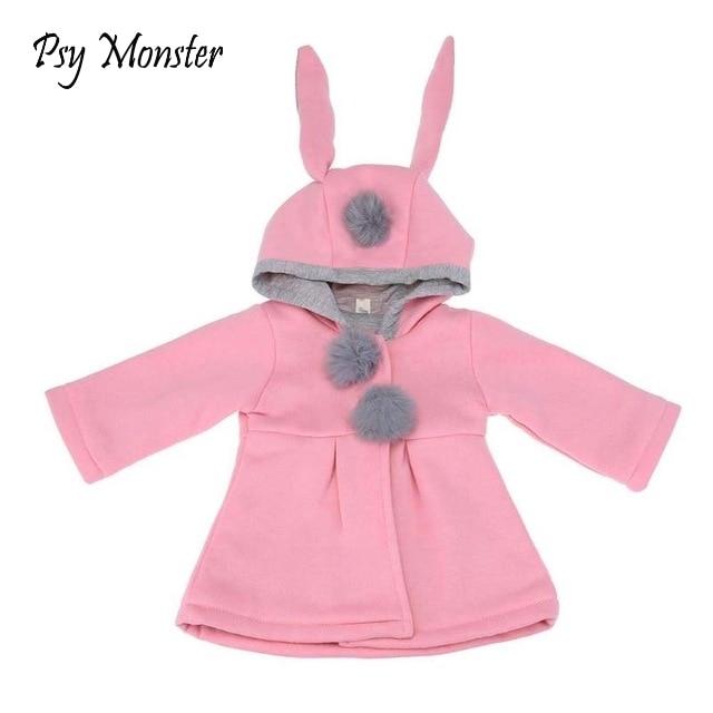 Toddler Baby Girl Hooded Jacket Coat Newborn  Kids Winter Rabbit Ear Hoodie 0-4T