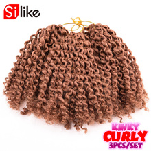 3pcs/set 90g Crochet Braids Kinky Curly Twist 8'' Ombre Marlybob Crochet Braiding Hair Extensions Short Curly Weave Braids Twist