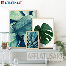 AFFLATUS Nordic Minimalism Green Plant Leaves Canvas Painting Wall Art Print Poster Wall Pictures For Living Room Home Decor