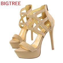BIGTREE Brand Sandals Women summer Ladies Shoes Super heeled fashion thick heels Sexy mix shoes Party High Heels Sandals 2760-1