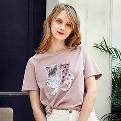 Женская хлопковая футболка с коротким рукавом и круглым вырезом