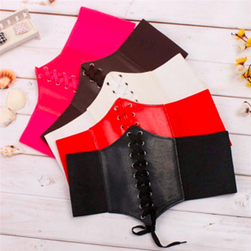 Women PU Leather Tight Corset Tie Let Ladies Look Thinner Fashion Cool Girls Elastic Extra Wide High Waist Slimming Belt