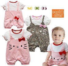 2015 New summer hello kitty baby romper girls pink & Leopard grain color with red bowknot false Condole belt girls jumpsuits