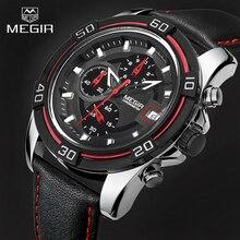 Топ Люксовый Бренд MEGIR часы Мужчин Спортивные Часы мужские Кварцевые Часы Хронограф 6 Руки Часы Человек Кожаный Ремешок Военная Наручные часы