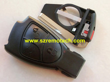 Free Shipping Flip Fob Remote Car Key Case Shell 3B Uncut Blade Key Cover Battery Clamp Fit Mercedes Benz M S C E CL