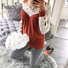 Feditch Women Sweater Pullover Basic Knitted Tops Hollow Out Solid Jumper Long Sleeve Lace Sweaters Women Autumn Winter 2017(China)