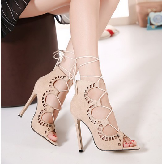 2015 brand new designer women faux suede lace up strappy ankle summer boots high heels hollow out peep toe sandals pumps black<br><br>Aliexpress