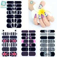 Rocooart YA-236-263 Beauty Makeup Dots England Flag Leopard Adhesive Nail Art Stickers Colorful Decor Nail Wrap Decal Decoration(China)