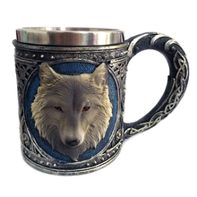 1Piece Animal Cartoon Lone Wolf King Drinking Cup 3D Wolf Pattern Retro Resin Stainless Steel Lining Tea Beer Coffee Mug Gift(China)
