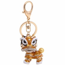 JAVRICK Ethnic Chinese Style Dance Lion Rhinestone Pendant Key Chain For Car Creative Gift hot New(China)