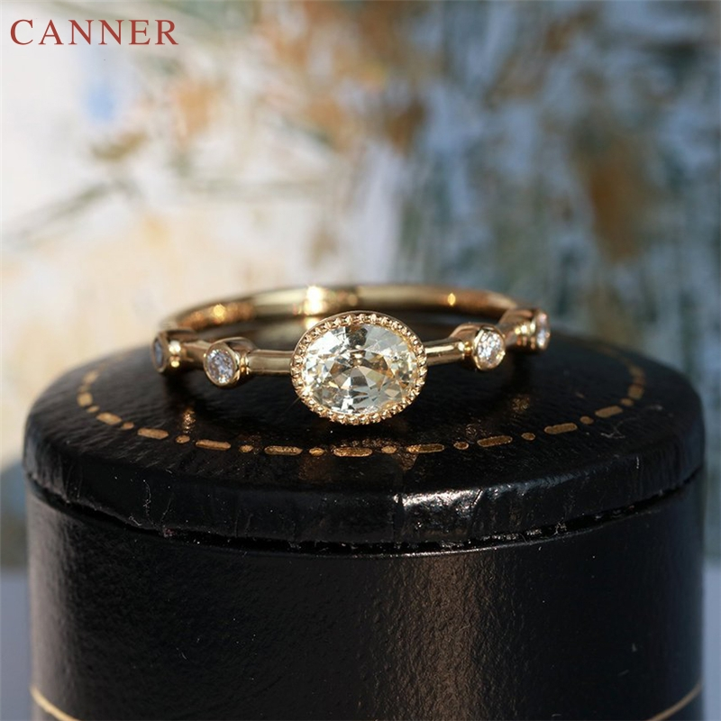 Wedding Engagement Rings for Women Gold Color Oval Crystal Zircon Ring Fashion Jewelry Promise Anniversary Gift anillos mujer C4