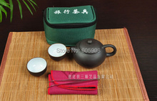 7 pcs Travel Ceramic Teapot Set With Green Gift Bag+1 Teapot+2 Cups+10g oolong tea+1 Towel +1 Tea Clip Tool  Kung Fu Teapot