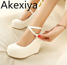 Akexiya White Wedges Shoes Pumps For Women Wedges High Heels Wedges Pumps White High Heels Shoes Platform Wedges Heels