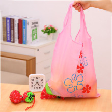 200pcs/lot Cute Strawberry  Foldable Tote Shopping Bags eco Reusable Folding Recycle Shopping Bag